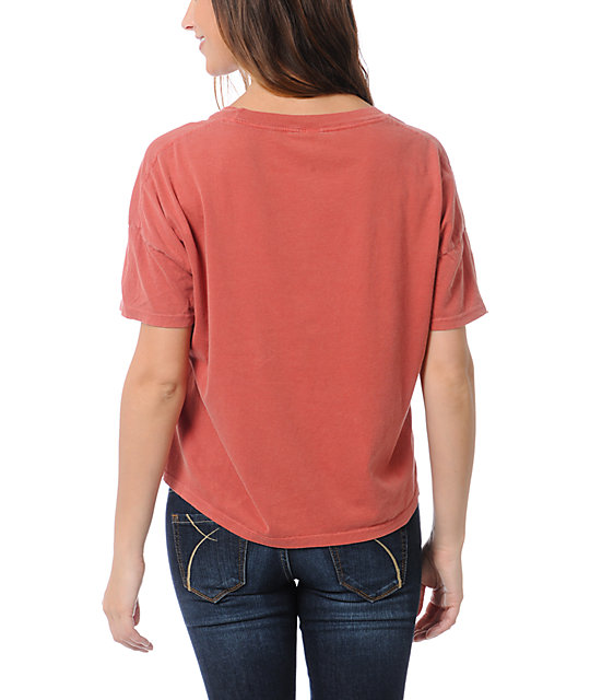 Obey College Crest Rust Orange Vintage Crop T-Shirt