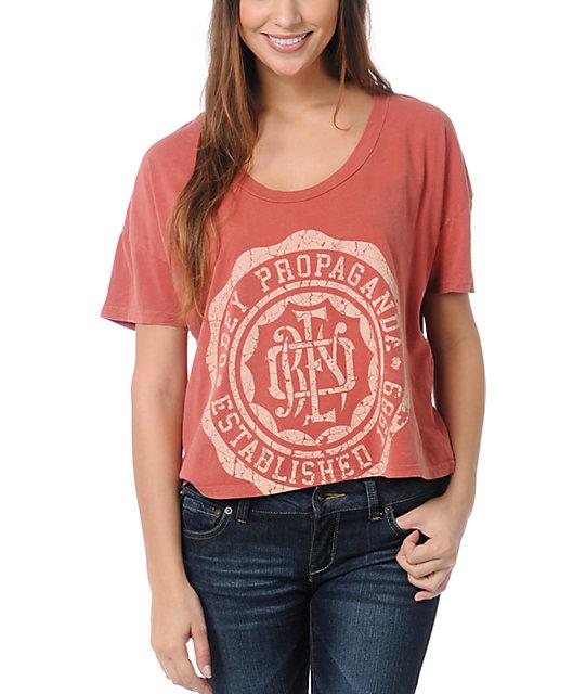Obey College Crest Rust Orange Vintage Crop T-Shirt