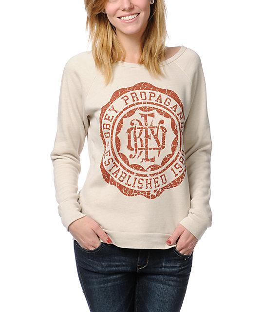 Obey College Crest Sandstone Vandal Crew Neck Sweatshirt
