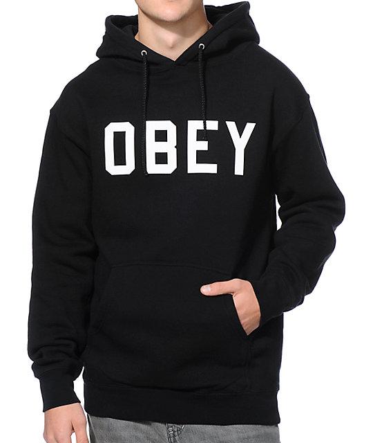 Obey Collegiate Black Pullover Hoodie