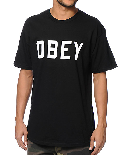 Obey collegiate black t shirt for Black obey t shirt