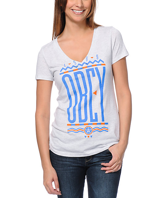 Obey Colours Heather White V-Neck T-Shirt