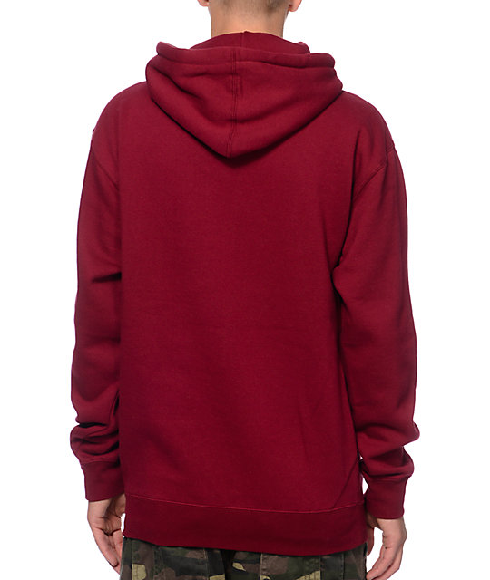 Obey Conquer Babylon Burgundy Pullover Hoodie