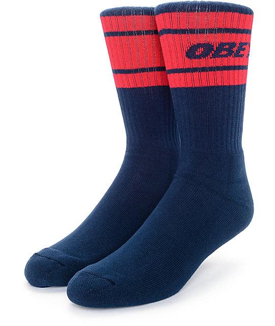 Obey Cooper Deuce Navy & Red Crew Socks