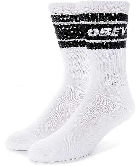 Obey Cooper II White & Black Crew Socks