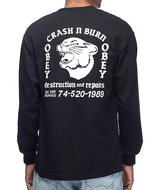 Obey Crash And Burn Black Long Sleeve T-Shirt