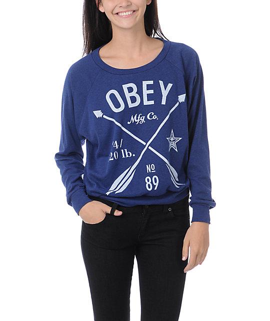 Obey Crossed Arrows Blue Raglan Top