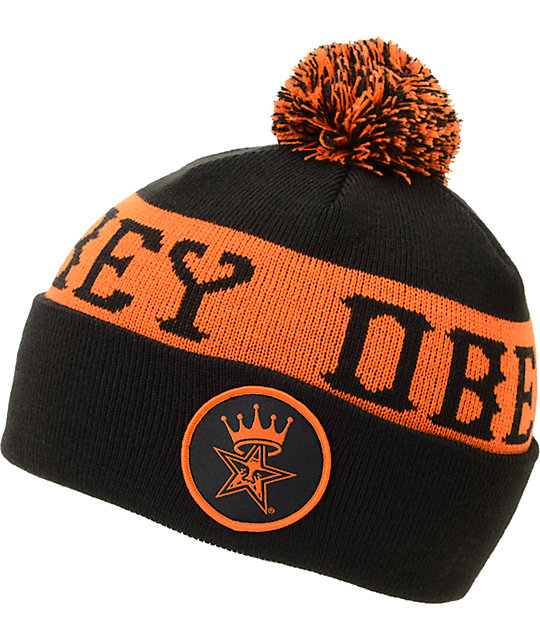 Obey Crowned Black & Orange Pom Fold Beanie