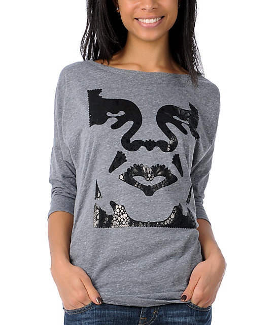 Obey Crystallized Heather Grey Dolman Top