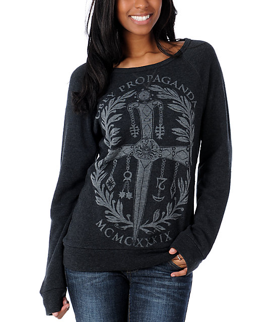Obey Dagger Crest Charcoal Pullover Sweatshirt
