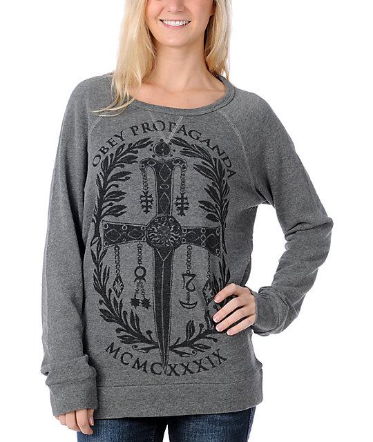 Obey Dagger Crest Grey Pullover Sweatshirt