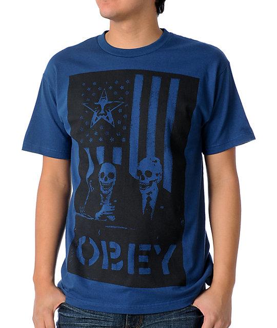 Obey Dark Blue Skull T-Shirt