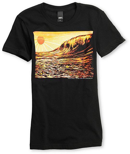 Obey Dark Wave & Rising Sun Black T-Shirt