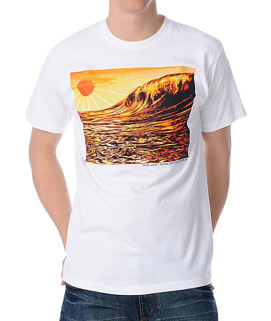 Obey Dark Wave Rising Sun White T-Shirt
