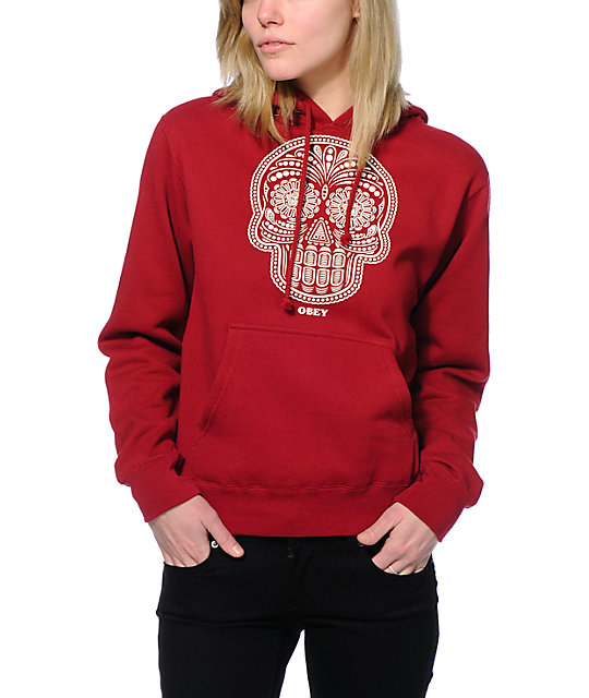 Obey Day Of The Dead Garnet Red Pullover Hoodie