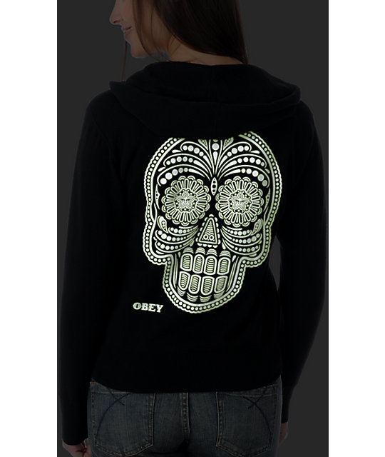 Obey Day Of The Dead Glow In The Dark Black Hoodie