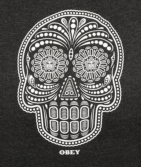 Obey Day Of The Dead Glow In The Dark Charcoal Pullover Hoodie