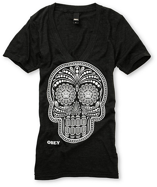 Obey Day Of The Dead Glow In The Dark Charcoal T-Shirt