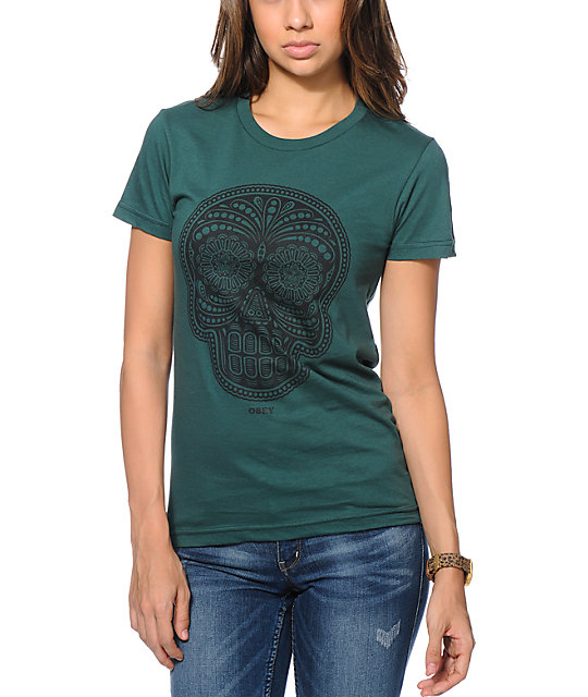 Obey Day Of The Dead Green T-Shirt