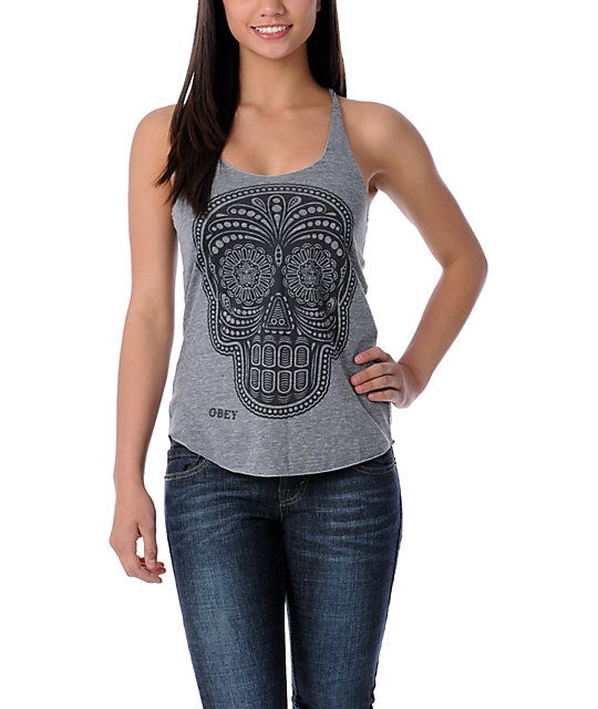Obey Day Of The Dead Grey Tank Top