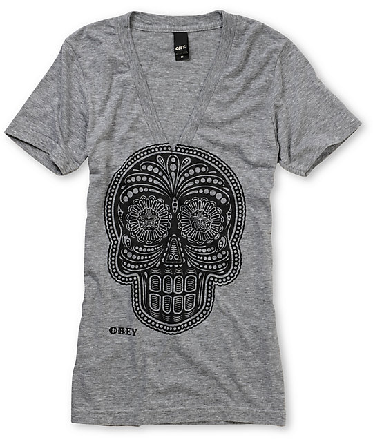 Obey Day Of The Dead Heather Grey V-Neck T-Shirt