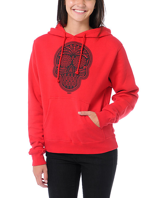 Obey Day Of The Dead Red Pullover Hoodie