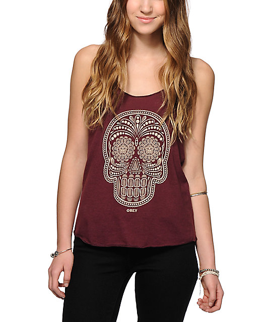 obey day of the dead tank top zumiez. Black Bedroom Furniture Sets. Home Design Ideas