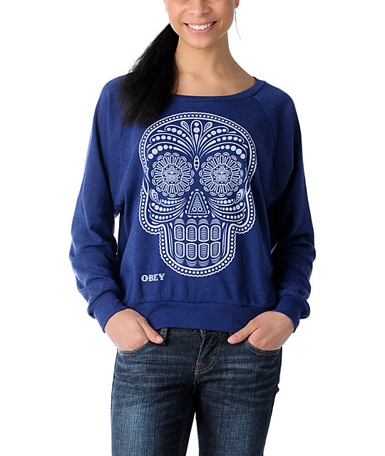 Obey Day of the Dead Navy Raglan Boyfriend Top