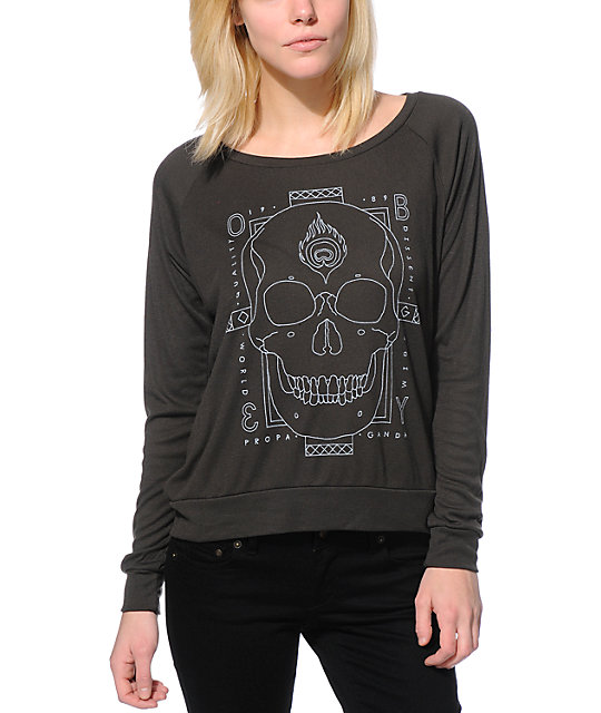 Obey Death Hallucinations Charcoal Raglan Top
