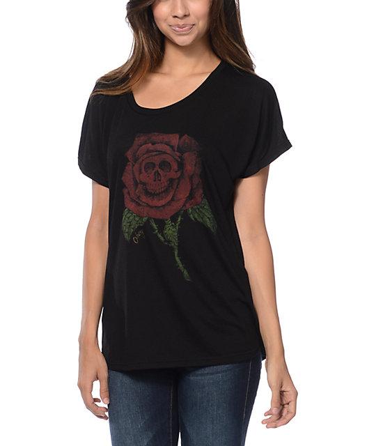 Obey Death Rose Black Dolman T-Shirt