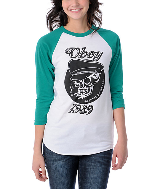Obey Devious Scumbag White Baseball Tee