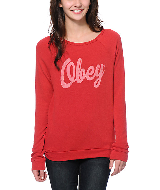 Obey Dewallen Script Red Knit Crew Neck Sweatshirt