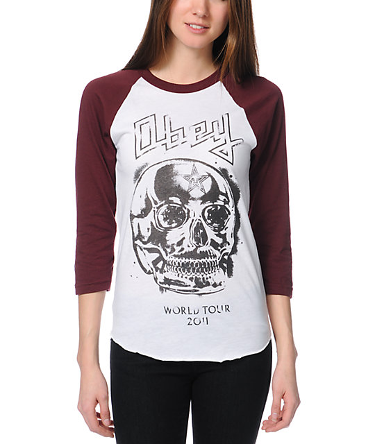 Obey Diamond Skull White & Truffle Baseball Tee