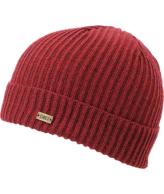 Obey Dover Burgundy Beanie