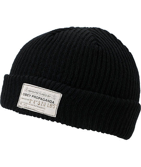 Obey Draft Black Beanie