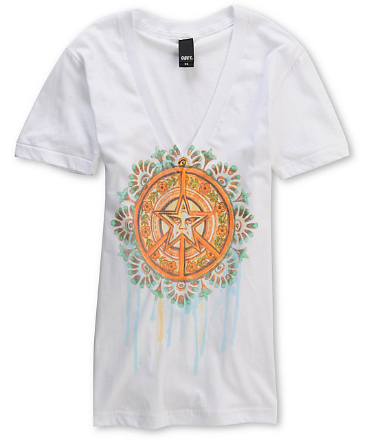 Obey Drips Of Peace White Deep V-Neck T-Shirt