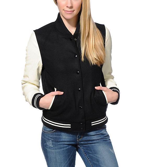 Obey Drop Out Black & Cream Varsity Jacket | Zumiez