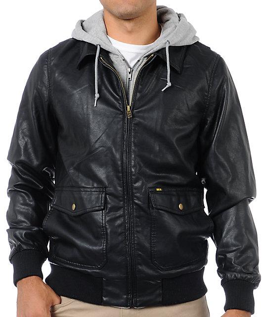 Obey Easton Black Hooded Bomber Jacket
