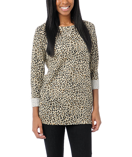 Obey Echo Mountain Leopard Print Crew Neck Sweatshirt