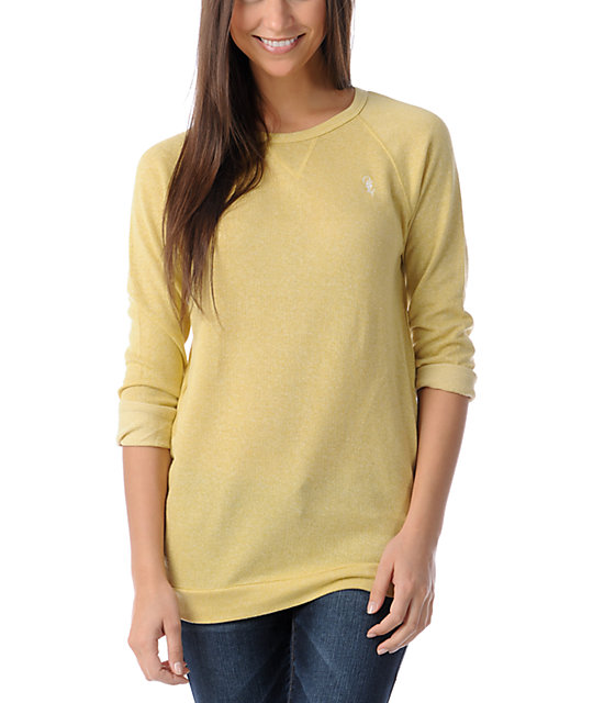 Obey Echo Mountain Mustard Yellow Crew Neck Sweatshirt