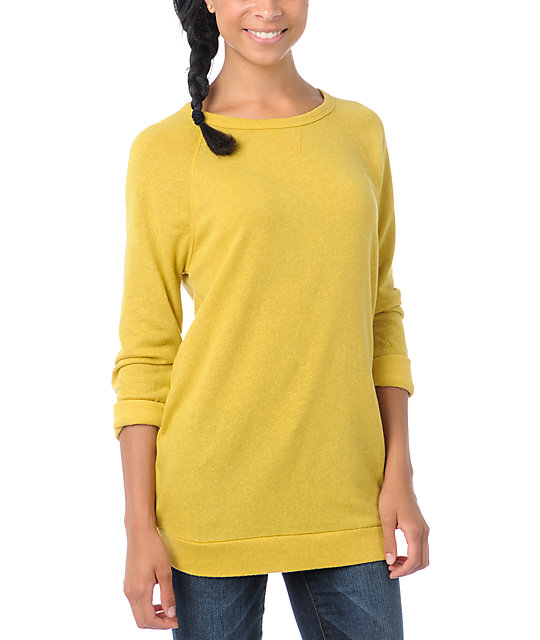Obey Echo Mountain Yellow Crew Neck Sweatshirt
