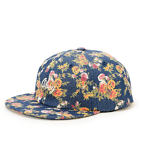 Obey Elodie Throwback Dark Blue Floral Strapback Hat