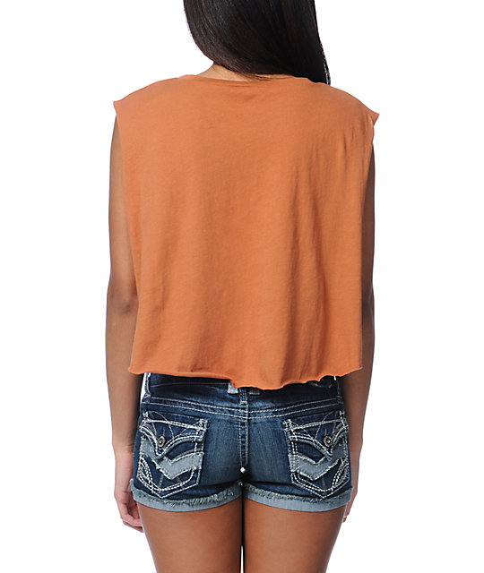 Obey Empty Souls Orange Voodoo Crop T-Shirt
