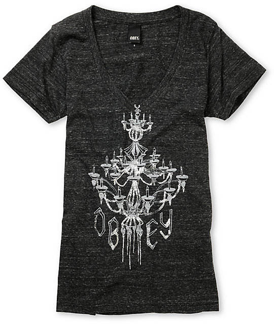 Obey Engagement Charcoal Heather V-Neck T-Shirt