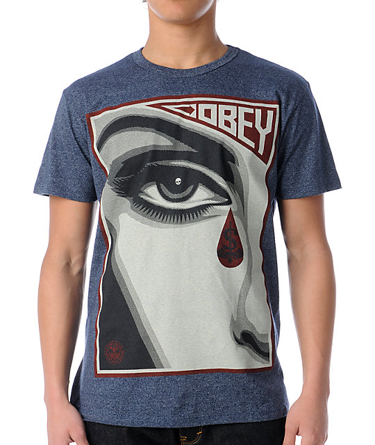 Obey Eye Alert Heather Navy T-Shirt