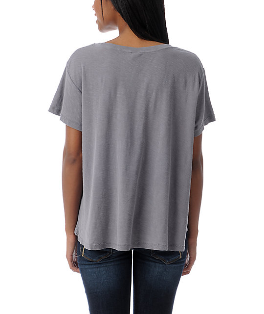 Obey Eye Of The Moon Grey Slub Dolman Top