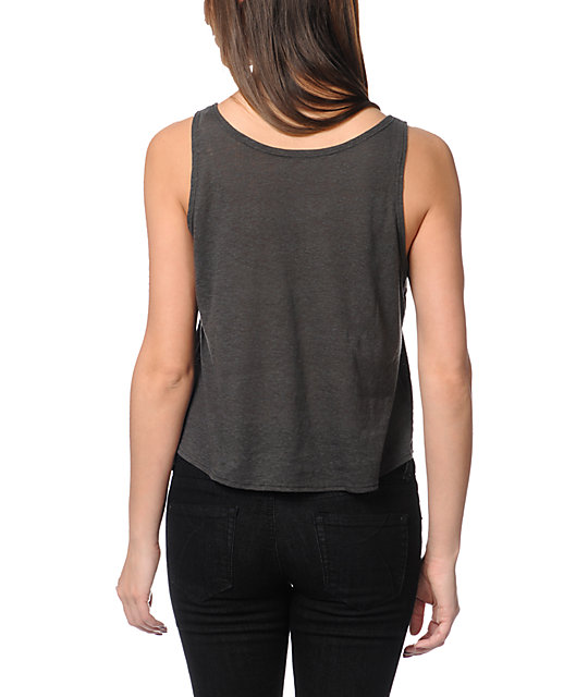 Obey Eye Of The Tiger Charcoal Breakup Crop Tank Top