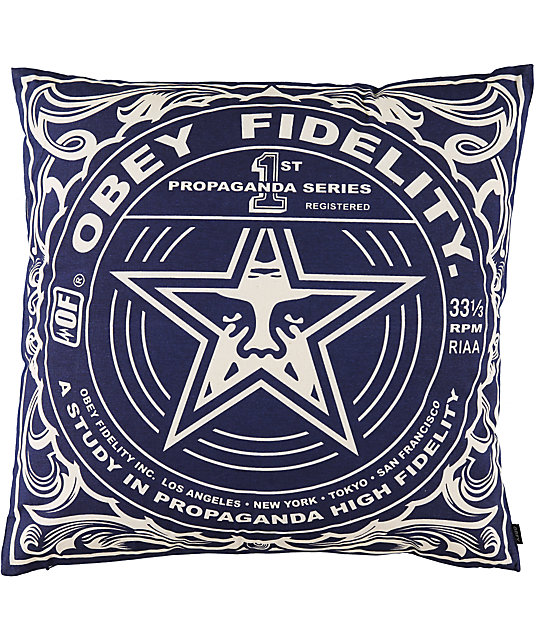 obey fidelity navy blue throw pillow