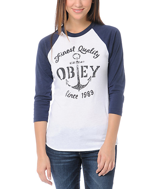 Obey Finest Quality White & Navy Blue Baseball Shirt