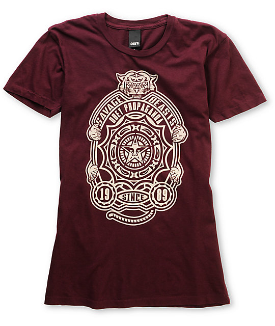 Obey Finlandia Burgundy Red Crew T-Shirt
